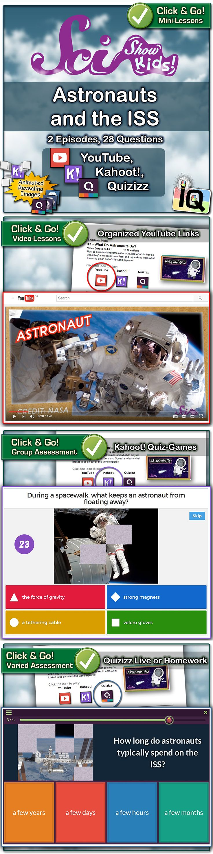 Just Point and Click for instant Mini-Lessons with Game-Based Assessment! ... SciShow Kids Episodes: #1 - What Do Astronauts Do? (learn what it takes to be an out-of-this-world explorer) #2 - Take a Tour of the Space Station (learn about the International Space Station) ... https://www.teacherspayteachers.com/Product/SciShow-Kids-Astronauts-and-the-ISS-Quizizz-and-Kahoot-3005789