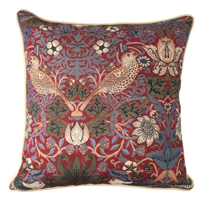 William Morris Strawberry Thief Tapestry Pillow at the Huntington Store.  http://www.thehuntingtonstore.org/collections/for-the-home/products/william-morris-strawberry-thief-tapestry-pillow