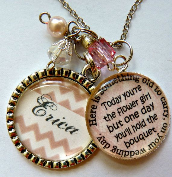 Flower Girl Necklace, personalized childrens name, daughter, granddaughter, niece, gift, present, big sister, religious, catholic on Etsy, $26.99