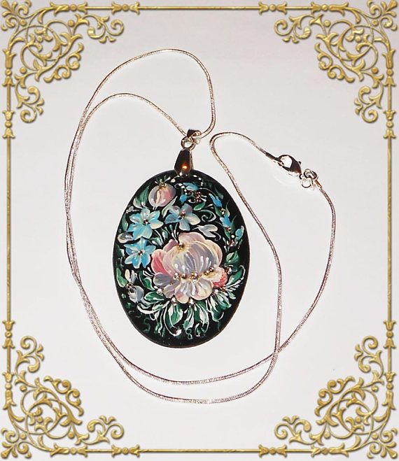 Russian jewelry pendant oval hand painted, Russian necklace pendant handmade paintings in Russian style folk art traditional. Buy in shop on Etsy: http://artworkshop1.etsy.com #jewelry #pendant #necklace #russianstyle #folkart #jewellery #handmade #chain #etsy #etsyshop #russian #traditional