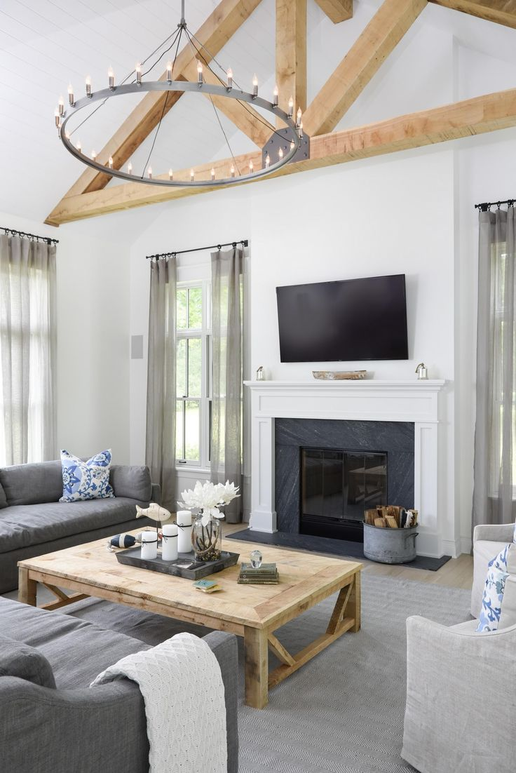 850 best images about living rooms on pinterest for Modern farmhouse fireplace