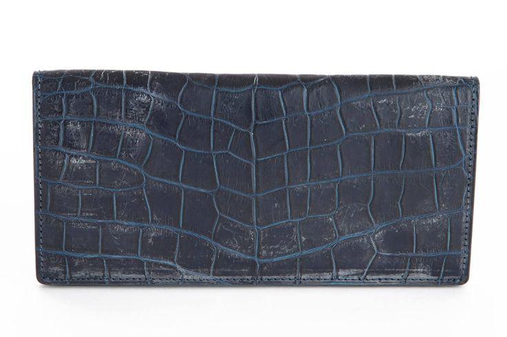 長束入れ TOTEM  カラー:藍染 サイズ:H 9.5cm × W 18.5cm × D 1.7cm 重さ:約160g #クロコダイル #わに革 #ワニ革 #エキゾチックレザー #爬虫類皮革 #クロコ財布#長財布