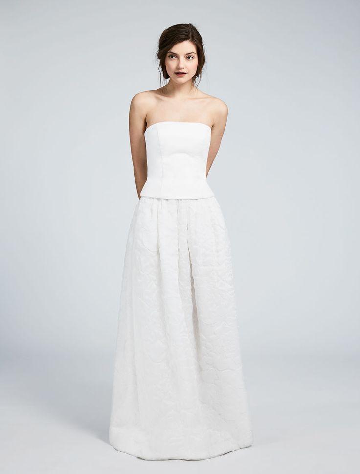 IOTA,bustier in double cotton fabric and patterned organza skirt. #MaxMaraBridal #weddingdress #abitodasposa