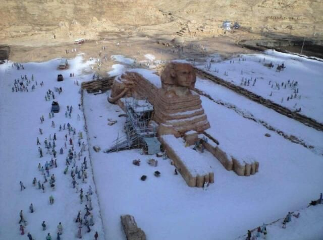 snow on the sphinx (Egypt) first time in over 100 years