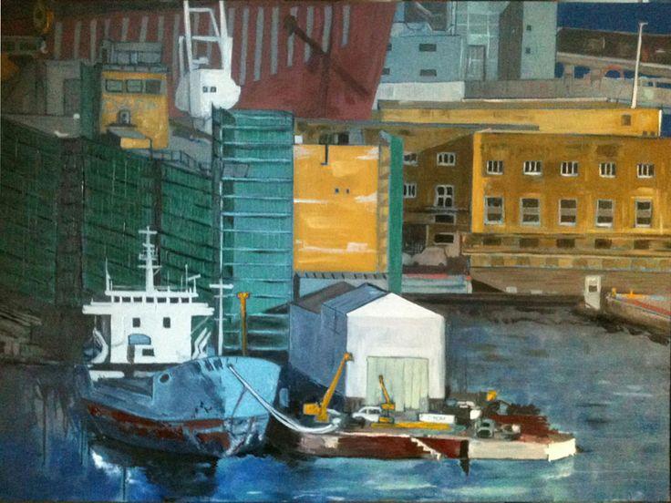 Storage vessels, Genoa. Oil on canvas, 100X70cm.  #wetcatindustry #painting #antonioOrtolani