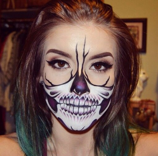 inspo from half skull makeup look i did this look using face body paints in white and black pressed eyeshadow in promiscuous eyeshadow tattoo liner and - Skull Face Painting Ideas For Halloween