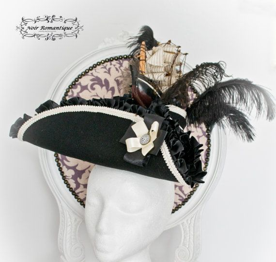 Antoinette feather tricorn top hat with by NoirRomantique on Etsy