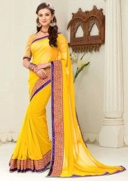 Party Wear Yellow Georgette Lace Border Work Saree