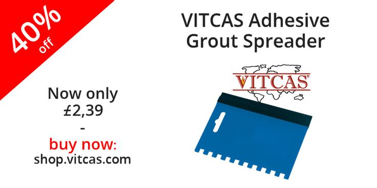 Combined tool with 6mm notched side for application of Heat Resistant Tile Adhesive and a rubber strip on the other side for grouting. Also useful for Board Adhesive, Heatproof Mortars and other products with a 3mm bed.  More information: http://shop.vitcas.com/vitcas-adhesive--grout-spreader-1005-p.asp