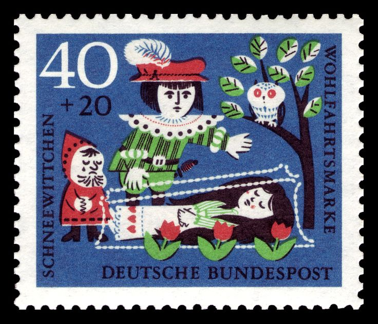 Art - Stamp Art - German - Brothers Grimm, Snow White saved by handsome prince