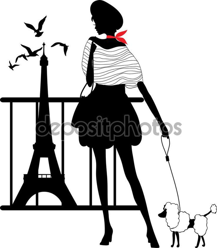 Ретро силуэт женщины — стоковая иллюстрация #63374681
