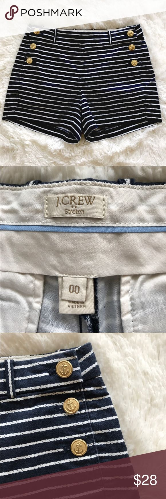 """J. Crew Factory Nautical Shorts J. Crew Factory Nautical Shorts - Size 00. Navy and white. Gold anchor buttons. No stains or tears. Waist: 28"""" // Inseam: 3"""" // Open to offers J. Crew Factory Shorts"""