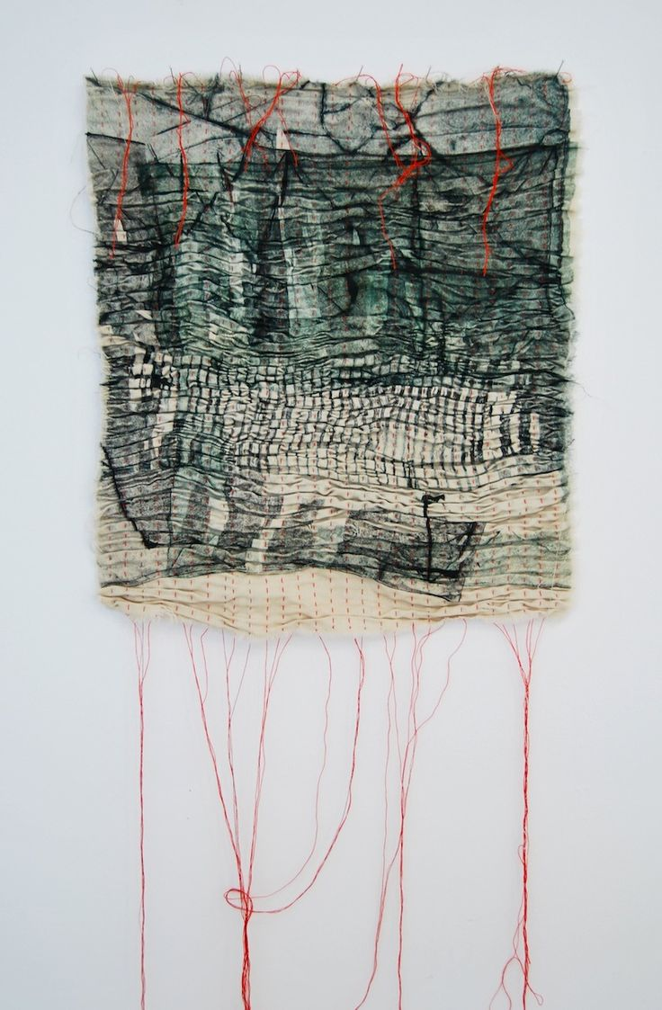 Earth-Bound - Collograph Print on Fabric, Pleated & Stitched