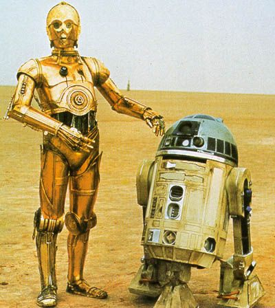Filmdom's most famous 'Droids: C3P0 (Anthony Daniels) and R2D2 (Kenny Baker) from Star Wars IV, V, & VI.