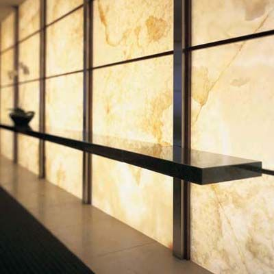 White Onyx Backlit Wall - reception desk