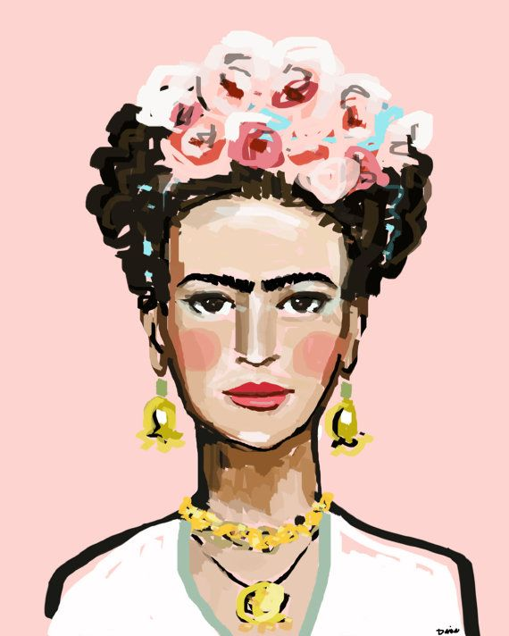 Frida with Roses  Pretty color; a little bit abstract, prints are prettier in person !!  Just pick your size on the right hand pull-down menu. These prints are on premium heavy matte paper, beautiful and vibrant inks. You will be happy.  Watermark will not appear on your print.  All paper prints are on heavy matte paper with archival quality inks, the 16 x 20 canvas has 1 sides that are same pink as background.  Canvas prints have 1 3/8 sides that are the same pink color as the background…