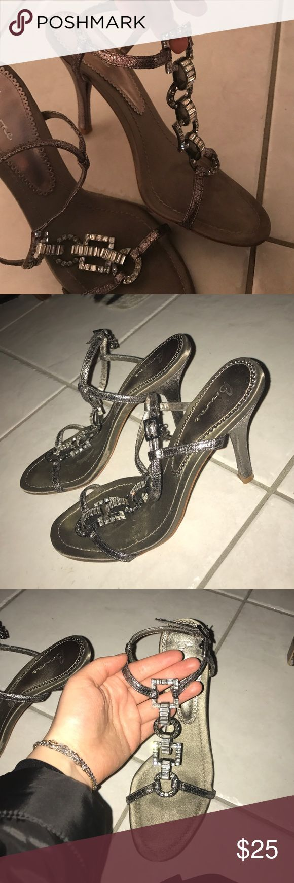 Bourne Pewter Steel and Crystal Heels Pewter Sandal Stilettos will Genuine Crystal Rhinestones Not missing a single one. Gorgeous worn dressy or casual. bourne Shoes