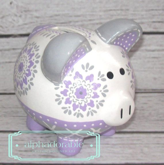 """SMALL artisan hand painted ceramic personalized piggy bank ~ PB kids Dahlia in lavender grey 5"""" on Etsy, $54.00"""