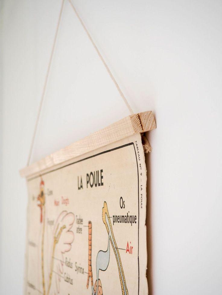 Porte affiche aimanté DIY - magnetic poster frame DIY - magnetic poster hanger DIY - réglette affiche vintage tutoriel - map hanger - minimalist poster frame