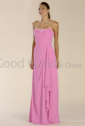 A-line Strapless Chiffon Beading , Ruffles Bridesmaid Dress