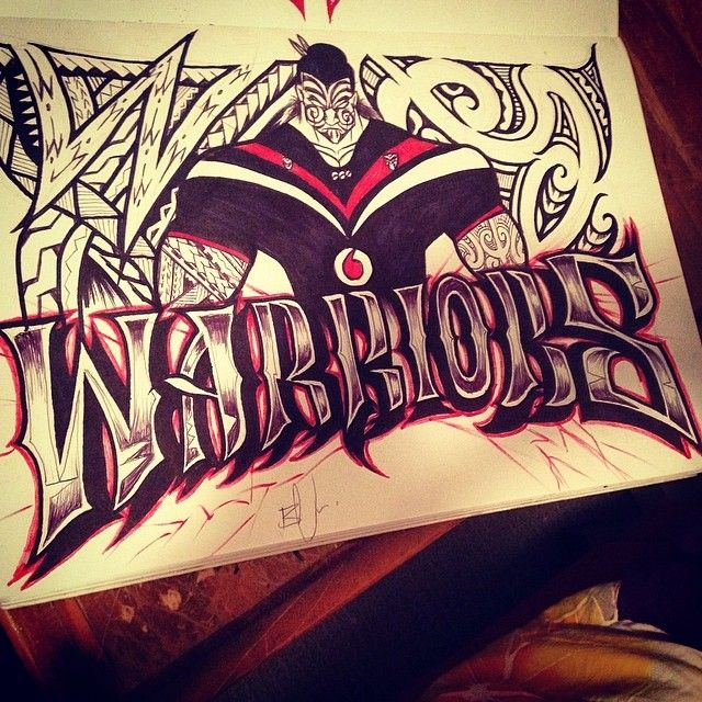 We love this Vodafone Warriors inspired artwork #Warriors #Tamoko #Art #Pacific #Sketch #WarriorsForever #WarriorsArt