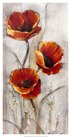Red Poppies on Taupe I Art Print at AllPosters.com