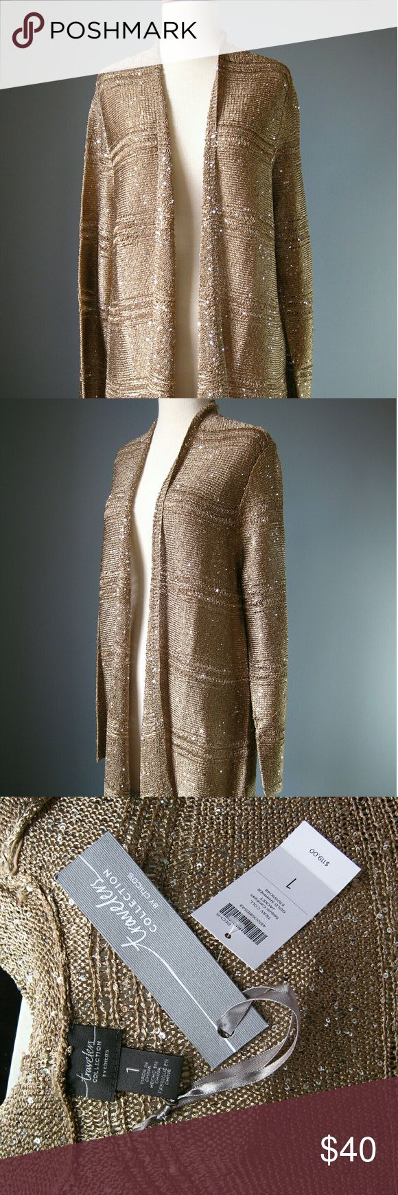 NWT Chili's sparkly gold cardigan Travelers collection sequin cardigan jacket Chico's Sweaters Cardigans
