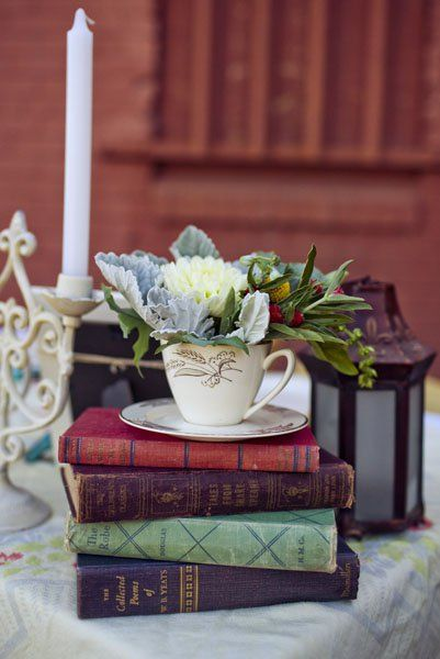 beauty and the beast wedding inspiration: Book Centerpiece