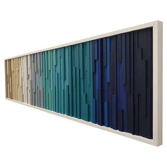 Wood Wall Art – Reclaimed Wood Art Sculpture Made to order or customize this look: This artwork is made entirely from upcycled wood scraps. Each piece of wood was cut at various depths and widths, painted then attached to the artwork. Rustic charm and modern colors blend beautifully