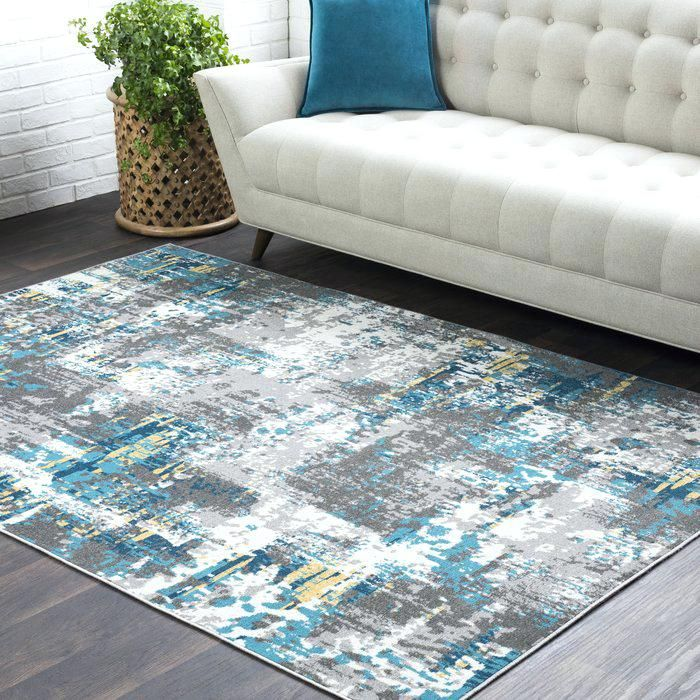 Lovely Teal And Gray Rug Distressed Abstract Teal Grey Area Rug