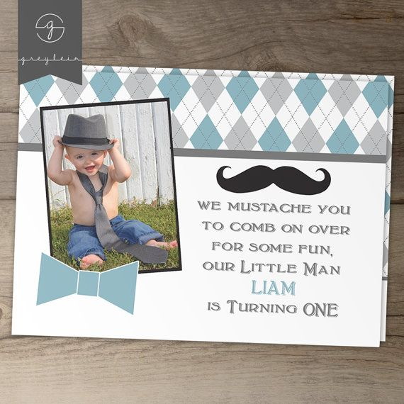 Little Man Mustache Party birthday invitations // Little Man birthday party // mustache / bow tie / Argyle//  by greylein