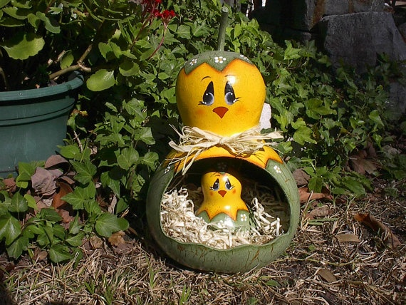 Hand Painted Gourd Spring Chicken Easter Gourd by NatsKreations, $32.95