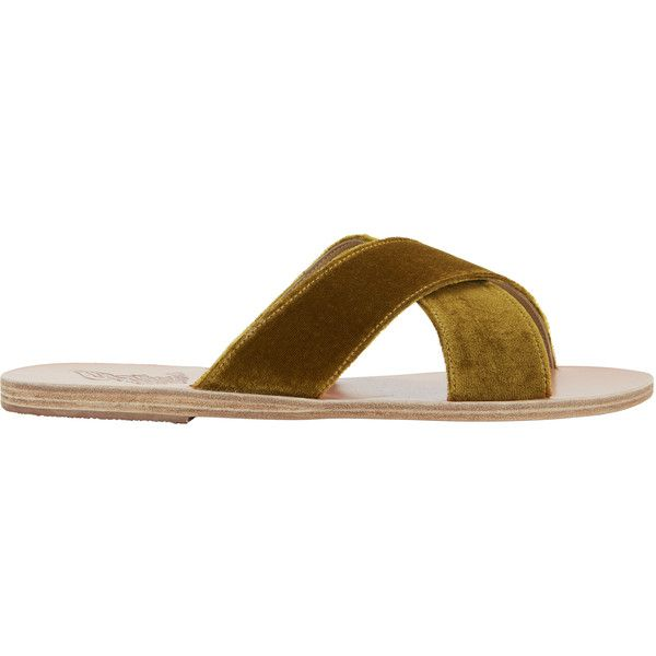 Thais Cross Strap Mustard Velvet Sandals ($260) ❤ liked on Polyvore featuring shoes, sandals, yellow, yellow shoes, strappy shoes, cross strap sandals, yellow flat sandals and yellow sandals
