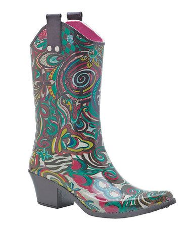 Look what I found on #zulily! Pink & Teal Art Fusion Cowboy Rain Boot #zulilyfinds
