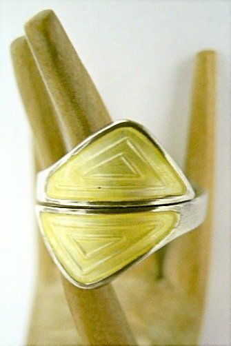 Aksel HOLMSEN Sterling + Yellow Guilloche Enamel Ring~NORWAY~Vintage Norwegian