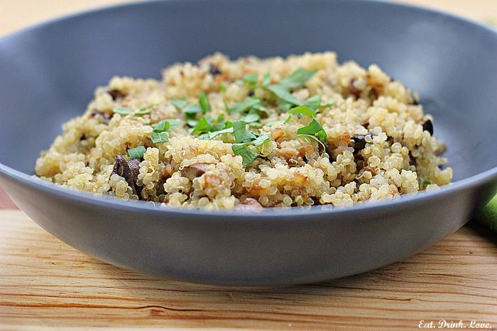 Quinoa Pilaf with Mushrooms and Caramelized Onions - Vegan: Olive Oils