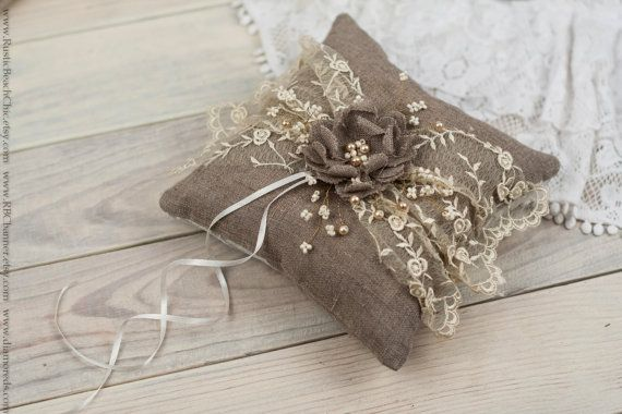Rustic Chic Wedding ring bearer pillow with by RusticBeachChic