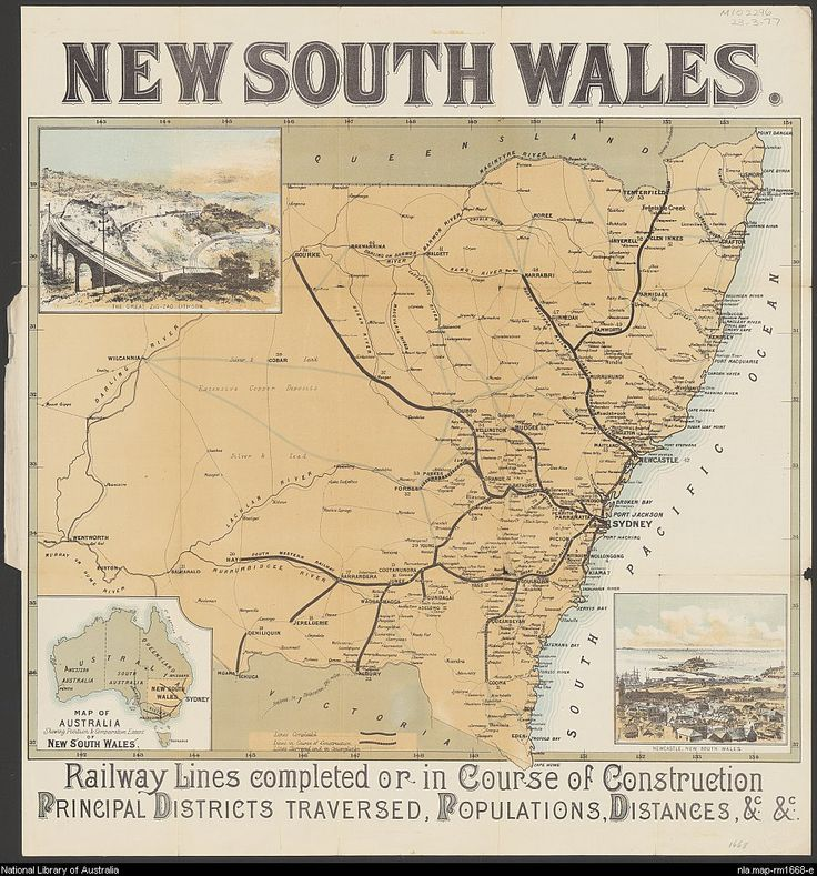 New South Wales [cartographic material] : railway lines completed or in course of construction, principal districts traversed, populations, distances, &c. &c.