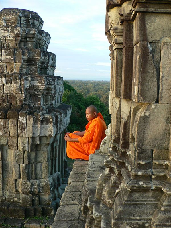 Angkor - monks have been watching sunset like this for more than a thousand years from the time when Cambodia covered a much larger territory that it is now.