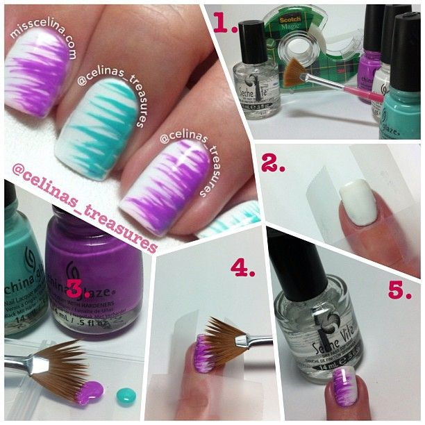 Fan brush striped nail art - Would be great with MN Vikings colors...yellow base color  purple fan brush stripes