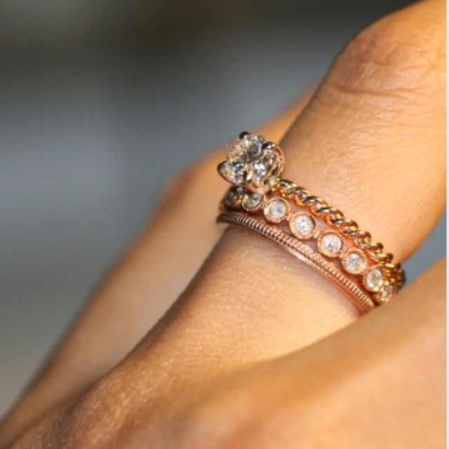 stackable wedding and twisted band engagement ring in rose gold