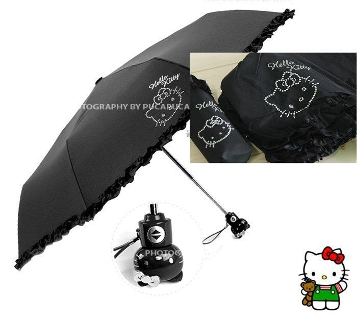 Hello Kitty Umbrella 3 Fold Auto Button Woman Lady Girl Child Cubic Face Black