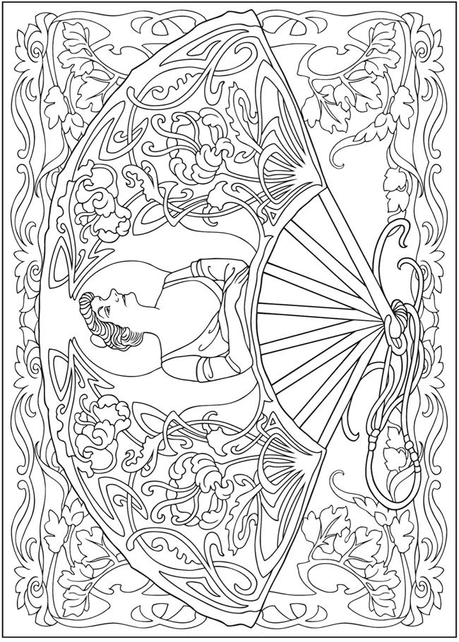 Creative Haven Vintage Hand Fans Coloring Book Welcome To Dover Publications