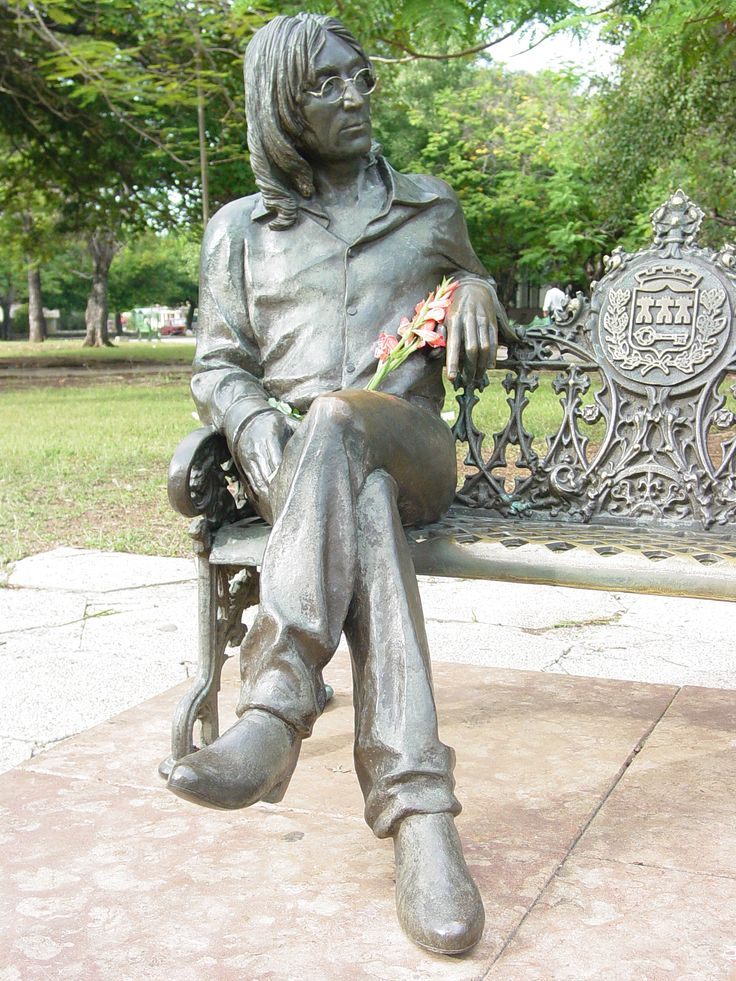 Statue in honor of John Lennon in Chavesse Park.