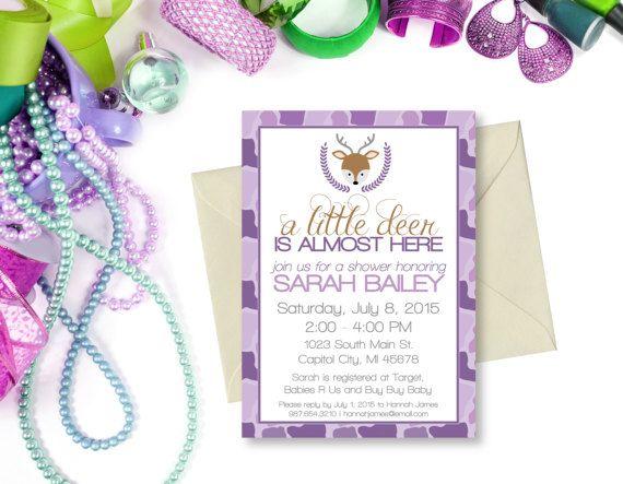 Purple Camo Deer Baby Shower Invitation A little Deer is