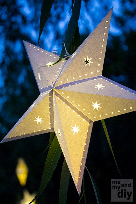 Paper Star Lantern with Stars and Dots - SVG Cutting File via Etsy