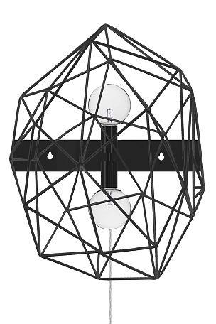 Grafisk vegglampe designet med metallstenger i matt usymmetrisk metall. Nøkkeloppheng og transparent ledning med dimmer. Høyde 65 cm. Bredde 50 cm. Dybde 22 cm. Pæreholder E27. Maks 2x60W. <br><br>