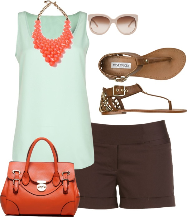 Casual summer day outfit. Switch out the necklace for white gold and swap the purse for beige w/aqua undertones. Purse preferably Coach <3 = perfect.