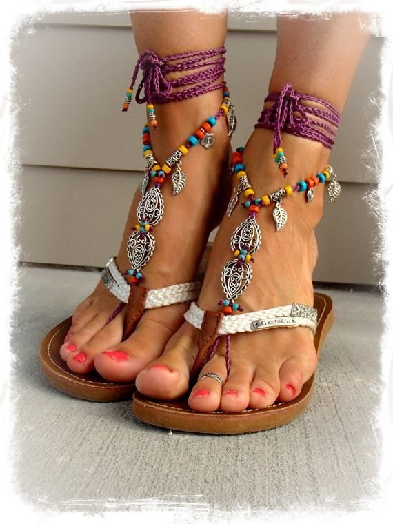 INDIE Paisley BAREFOOT sandals MAGENTA Toe ankle Wrap by GPyoga, $84.00
