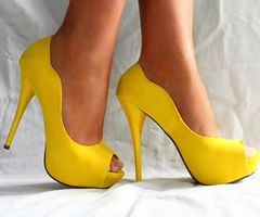 Yellow heels that I looked so hard to get married in and here they are!